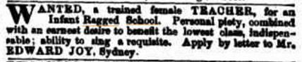 Ragged School advertisement for a trained teacher