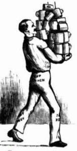 Assistant carrying soup mugs