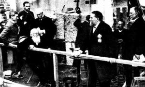 Laying the foundation stone of Bible House (Kent is standing third from the left)