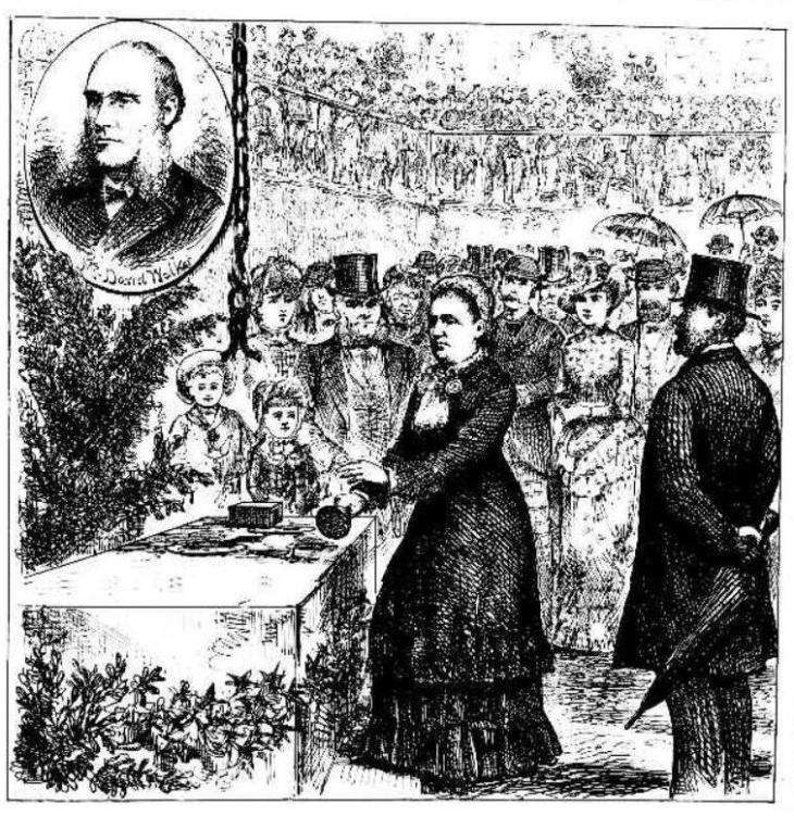 Mrs Margaret Hampson, lady evangelist, laying the foundation stone of the YMCA building in 1883. The inset is David Walker.