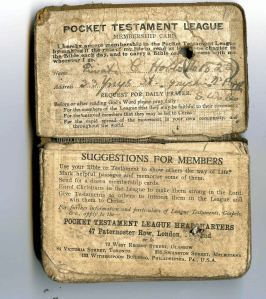 Pocket Testament League Bible with its pledge