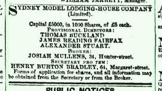 Advertisement for shares in the Model Lodging House, Sydney