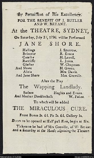 An original playbill from Sidaway's theatre, dated 30 July 1796